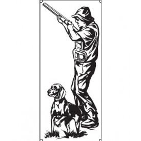 Motyw myśliwski - naklejka Myśliwy z psem
