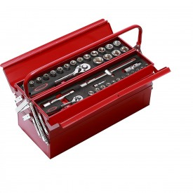 Solidna i stabilna walizka z narzędziami we wkładach w zestawie